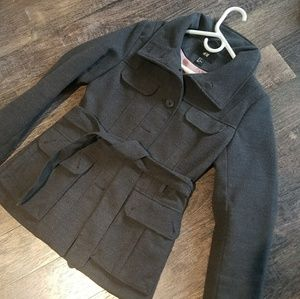 H&M Gray Winter Jacket, Pockets and Tie Belt